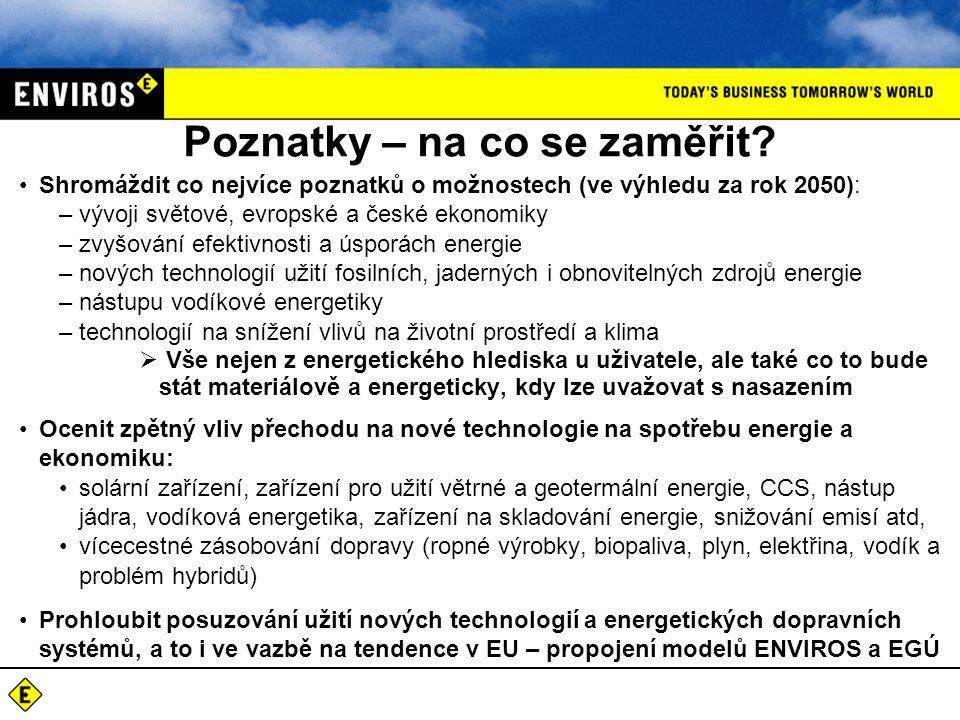 Poznatky – na co se zaměřit? •Shromáždit co nejvíce poznatků o možnostech (ve výhledu za rok 2050): –vývoji světové, evropské a české ekonomiky –zvyšo