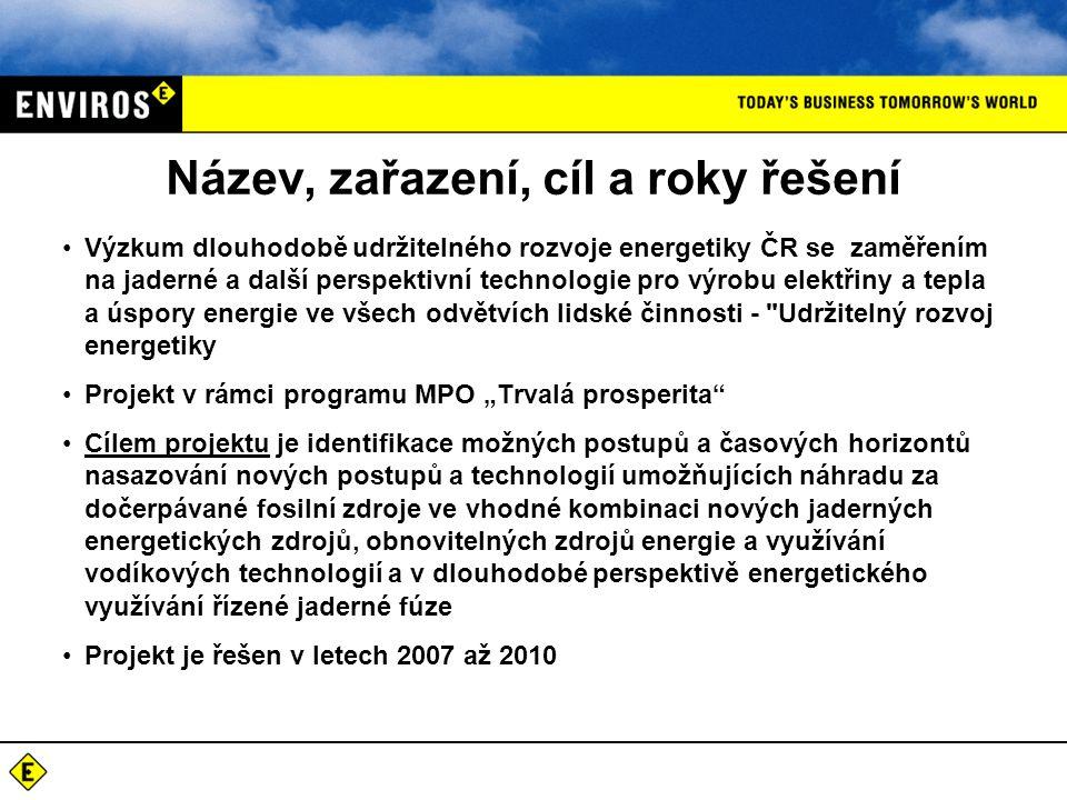 Název, zařazení, cíl a roky řešení •Výzkum dlouhodobě udržitelného rozvoje energetiky ČR se zaměřením na jaderné a další perspektivní technologie pro