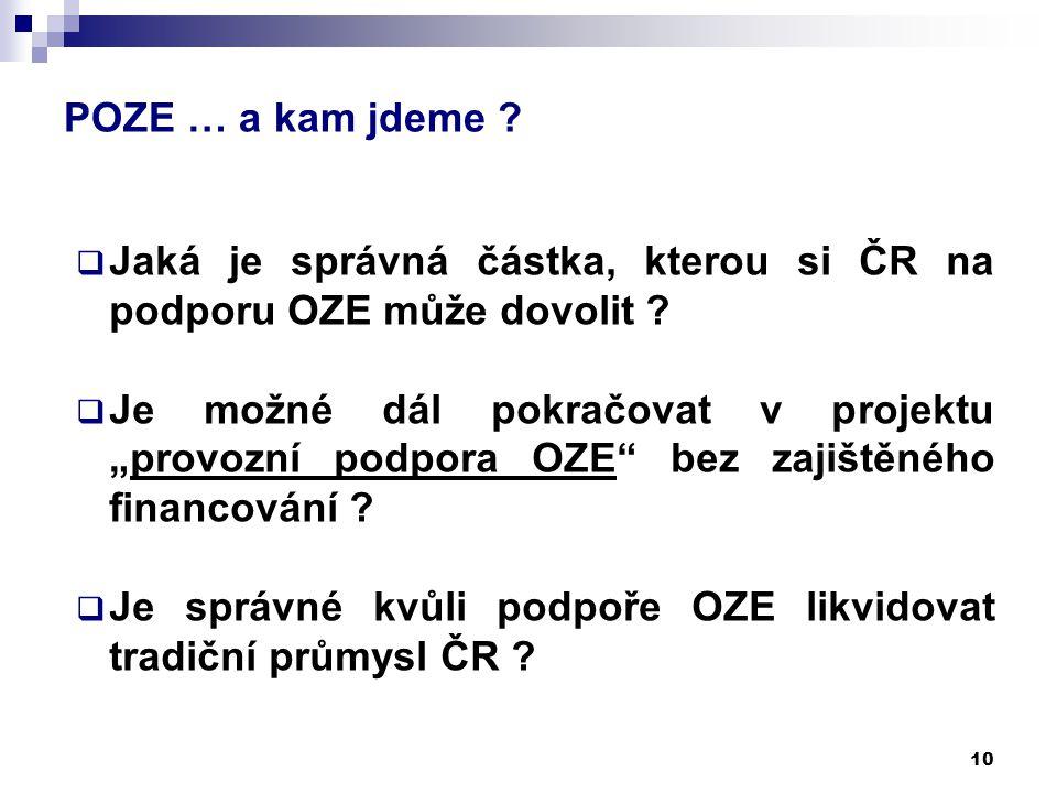 """POZE … a kam jdeme ? 10  Jaká je správná částka, kterou si ČR na podporu OZE může dovolit ?  Je možné dál pokračovat v projektu """"provozní podpora OZ"""