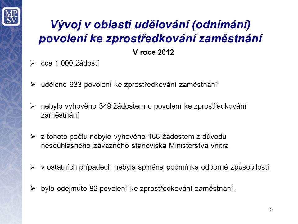 7 Agenturní zaměstnávání  je upraveno v § 66 zákona o zaměstnanosti,  smluvní vztahy v této oblasti jsou upraveny v § 307a až 309 zákona č.