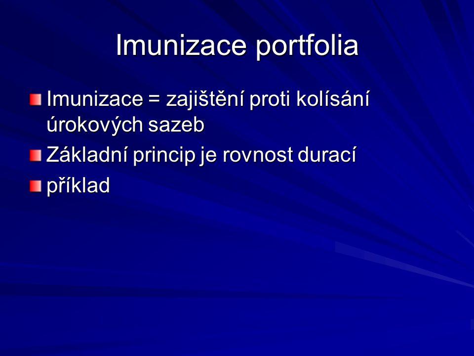 Imunizace portfolia Imunizace = zajištění proti kolísání úrokových sazeb Základní princip je rovnost durací příklad