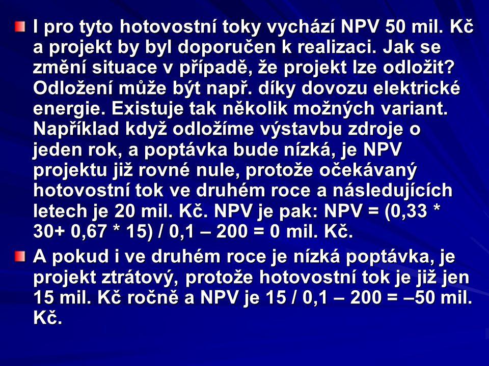 I pro tyto hotovostní toky vychází NPV 50 mil. Kč a projekt by byl doporučen k realizaci. Jak se změní situace v případě, že projekt lze odložit? Odlo
