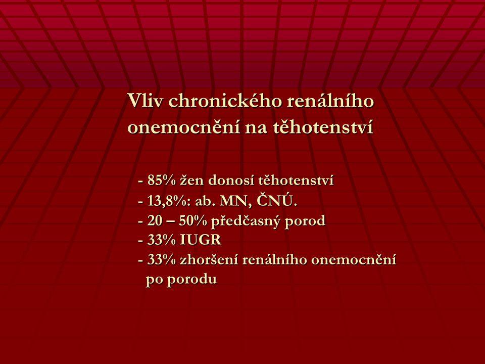 Vliv těhotenství na chronické renální onemocnění - Kontroverzní názory - Prognóza podle hladiny sérového kreatininu - Difusní glomerolonephritis - Zho