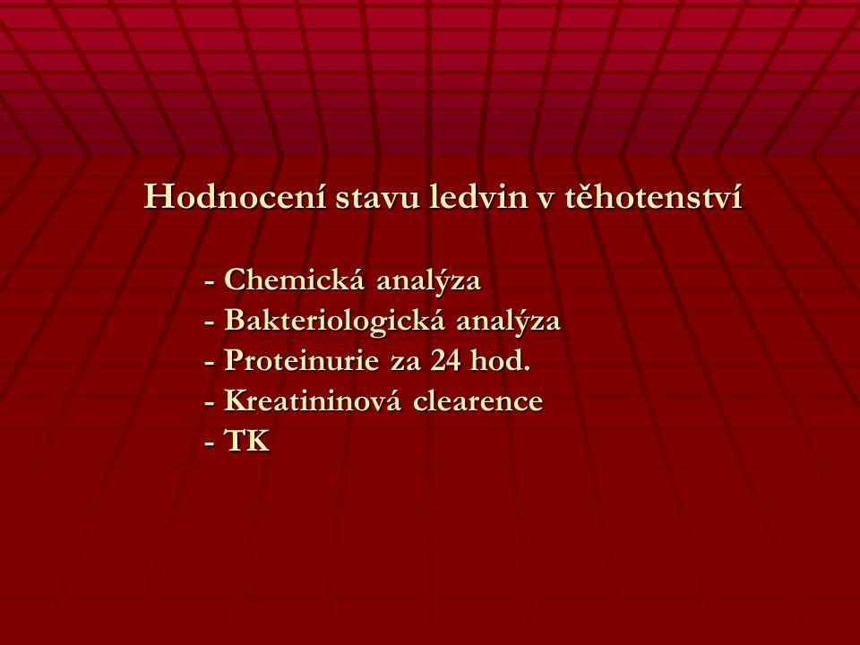Hodnocení stavu ledvin v těhotenství - Chemická analýza - Bakteriologická analýza - Proteinurie za 24 hod.