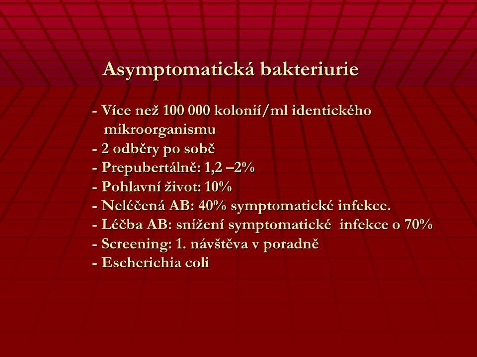 Asymptomatická bakteriurie - Více než 100 000 kolonií/ml identického mikroorganismu - 2 odběry po sobě - Prepubertálně: 1,2 –2% - Pohlavní život: 10% - Neléčená AB: 40% symptomatické infekce.