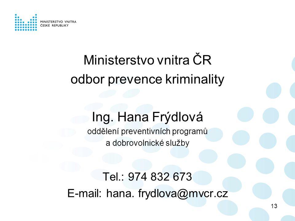 13 Ministerstvo vnitra ČR odbor prevence kriminality Ing.