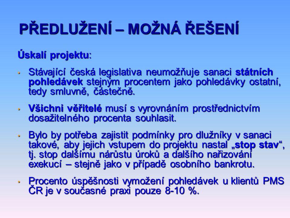 Úskalí projektu: • Stávající česká legislativa neumožňuje sanaci státních pohledávek stejným procentem jako pohledávky ostatní, tedy smluvně, částečně.
