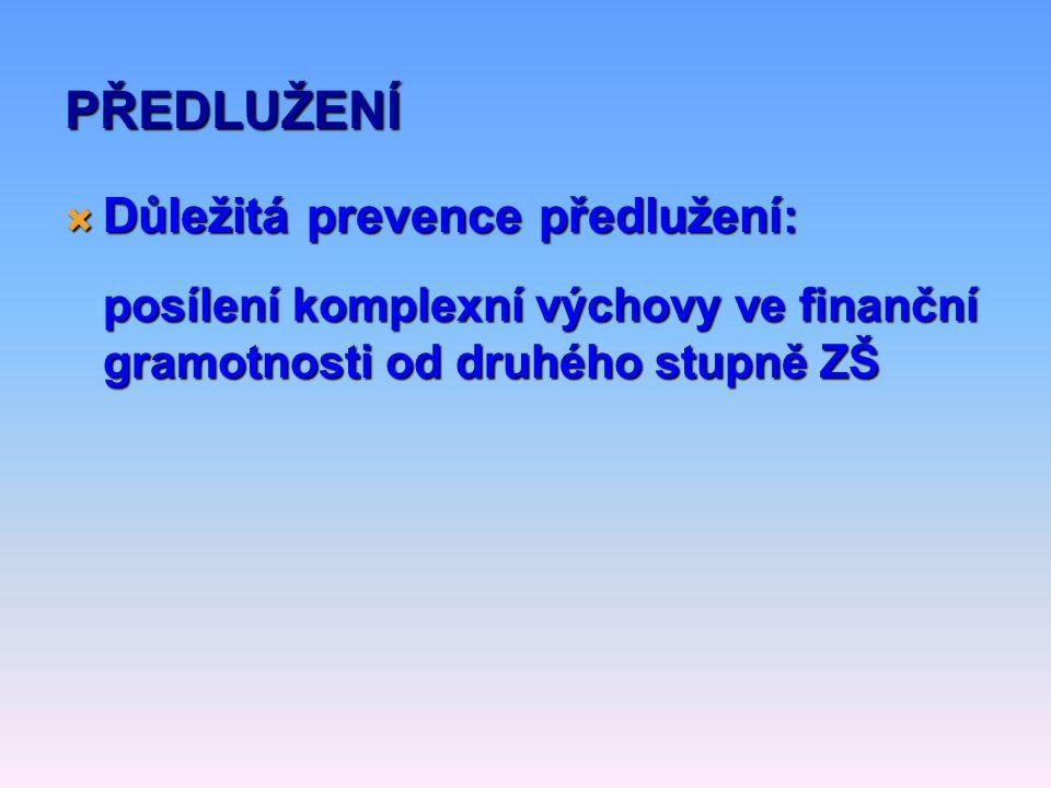  Důležitá prevence předlužení : posílení komplexní výchovy ve finanční gramotnosti od druhého stupně ZŠ PŘEDLUŽENÍ