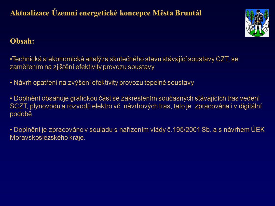 Aktualizace Územní energetické koncepce Města Bruntál Obsah: •Technická a ekonomická analýza skutečného stavu stávající soustavy CZT, se zaměřením na zjištění efektivity provozu soustavy • Návrh opatření na zvýšení efektivity provozu tepelné soustavy • Doplnění obsahuje grafickou část se zakreslením současných stávajících tras vedení SCZT, plynovodu a rozvodů elektro vč.