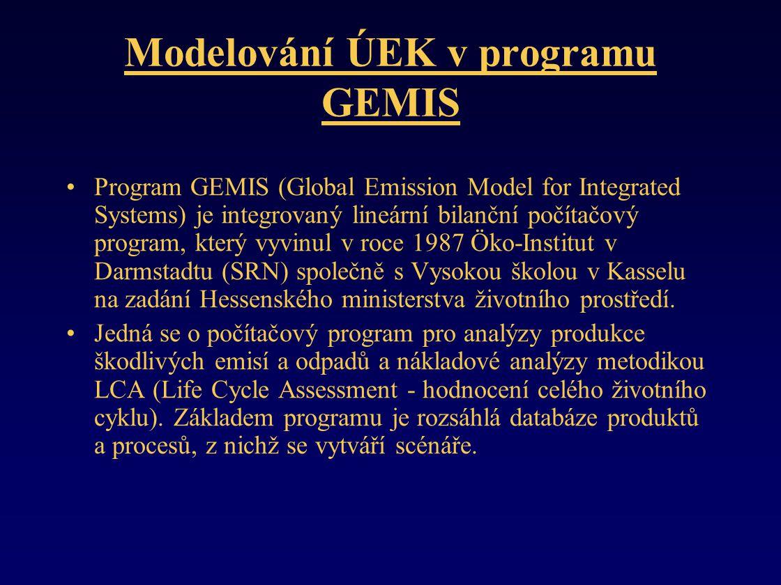 Modelování ÚEK v programu GEMIS •Program GEMIS (Global Emission Model for Integrated Systems) je integrovaný lineární bilanční počítačový program, který vyvinul v roce 1987 Öko-Institut v Darmstadtu (SRN) společně s Vysokou školou v Kasselu na zadání Hessenského ministerstva životního prostředí.
