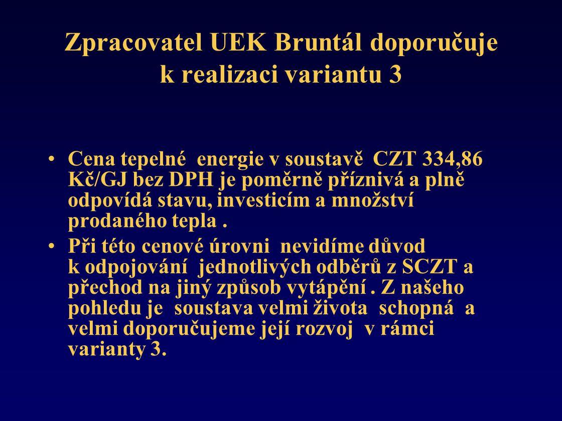 Zpracovatel UEK Bruntál doporučuje k realizaci variantu 3 •Cena tepelné energie v soustavě CZT 334,86 Kč/GJ bez DPH je poměrně příznivá a plně odpovídá stavu, investicím a množství prodaného tepla.