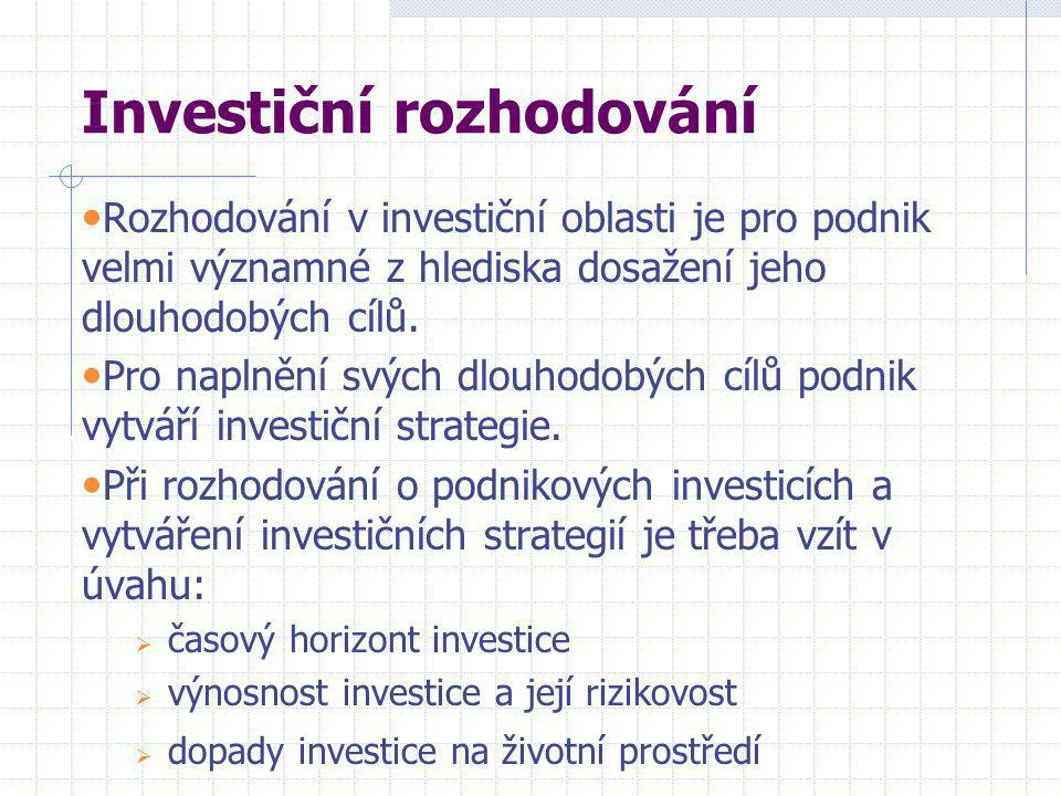 Investiční rozhodování • Rozhodování v investiční oblasti je pro podnik velmi významné z hlediska dosažení jeho dlouhodobých cílů.