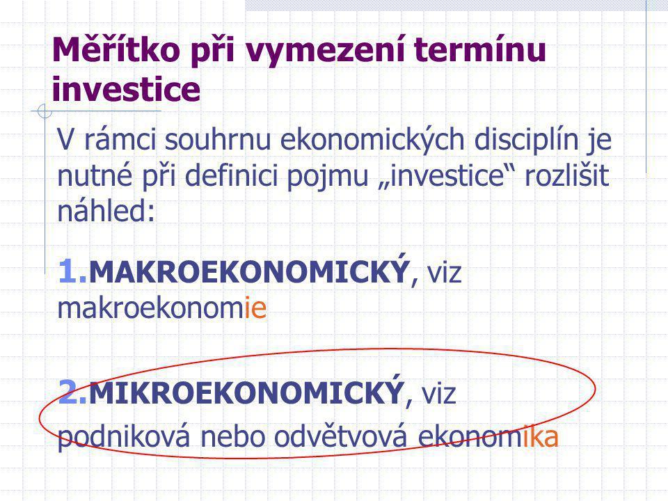 """Měřítko při vymezení termínu investice V rámci souhrnu ekonomických disciplín je nutné při definici pojmu """"investice rozlišit náhled: 1."""
