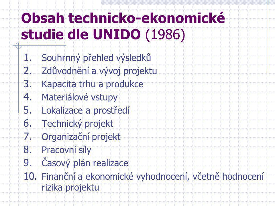 Obsah technicko-ekonomické studie dle UNIDO (1986) 1.