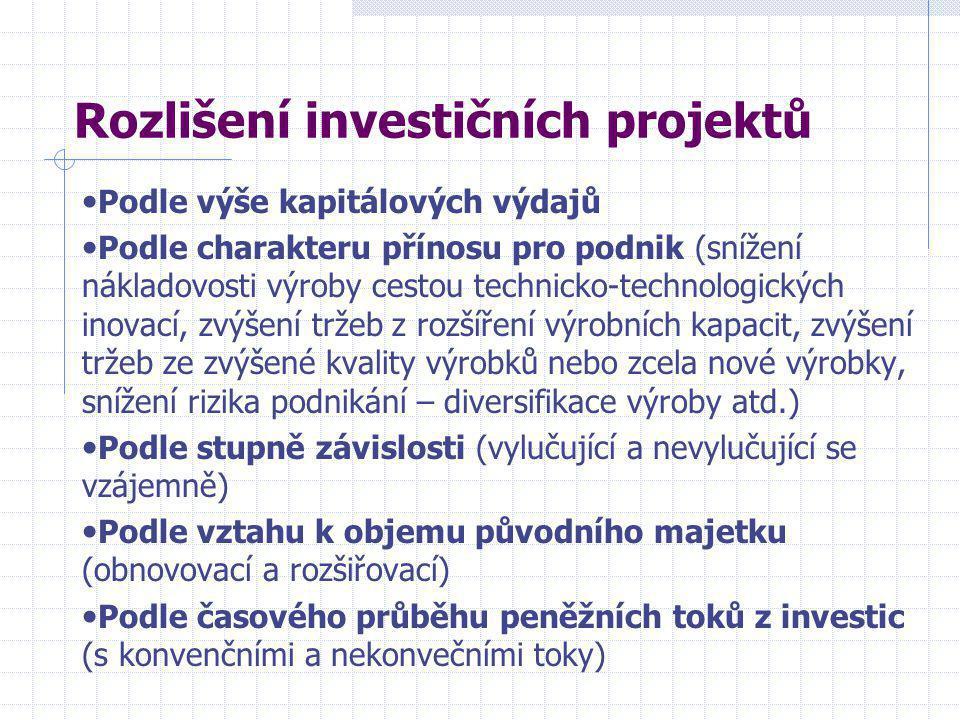 Rozlišení investičních projektů • Podle výše kapitálových výdajů • Podle charakteru přínosu pro podnik (snížení nákladovosti výroby cestou technicko-technologických inovací, zvýšení tržeb z rozšíření výrobních kapacit, zvýšení tržeb ze zvýšené kvality výrobků nebo zcela nové výrobky, snížení rizika podnikání – diversifikace výroby atd.) • Podle stupně závislosti (vylučující a nevylučující se vzájemně) • Podle vztahu k objemu původního majetku (obnovovací a rozšiřovací) • Podle časového průběhu peněžních toků z investic (s konvenčními a nekonvečními toky)