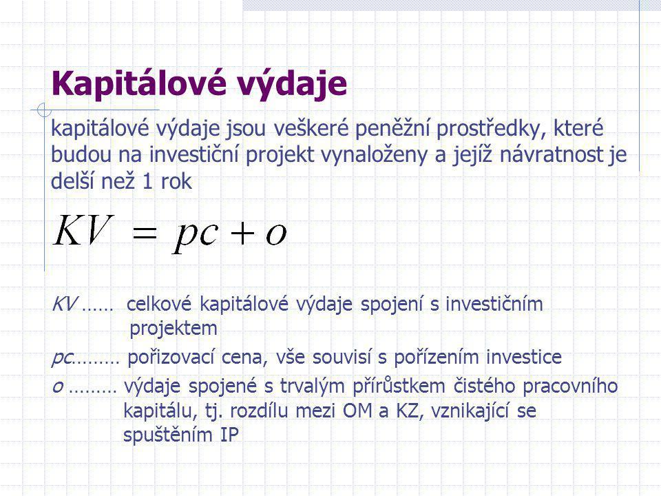 Kapitálové výdaje kapitálové výdaje jsou veškeré peněžní prostředky, které budou na investiční projekt vynaloženy a jejíž návratnost je delší než 1 rok KV …… celkové kapitálové výdaje spojení s investičním projektem pc……… pořizovací cena, vše souvisí s pořízením investice o ……… výdaje spojené s trvalým přírůstkem čistého pracovního kapitálu, tj.