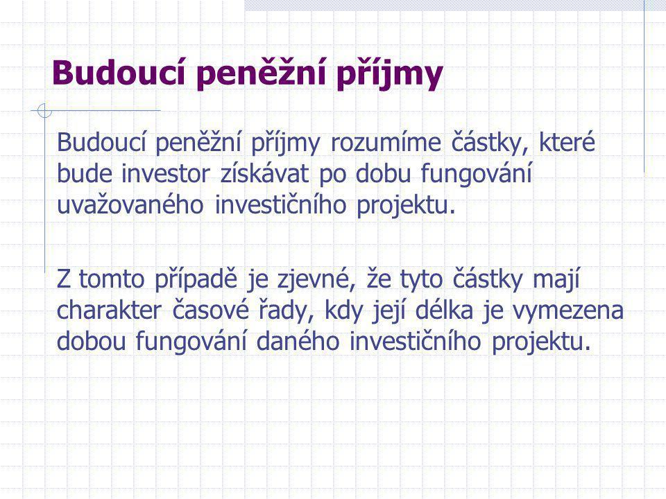 Budoucí peněžní příjmy Budoucí peněžní příjmy rozumíme částky, které bude investor získávat po dobu fungování uvažovaného investičního projektu.