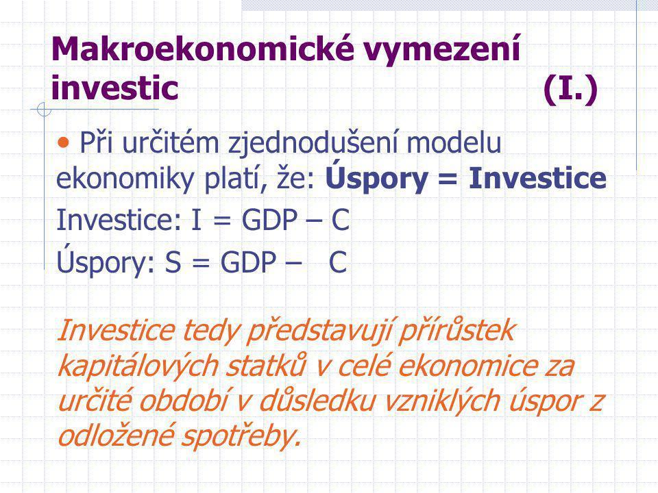 Makroekonomické vymezení investic (I.) • Při určitém zjednodušení modelu ekonomiky platí, že: Úspory = Investice Investice: I = GDP – C Úspory: S = GDP – C Investice tedy představují přírůstek kapitálových statků v celé ekonomice za určité období v důsledku vzniklých úspor z odložené spotřeby.