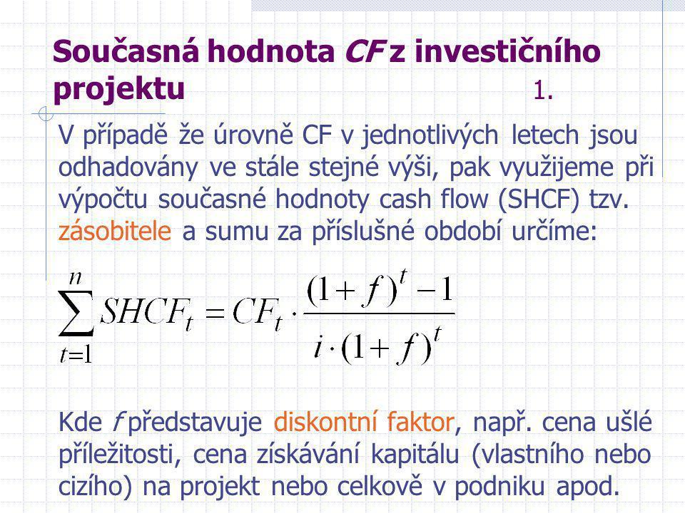 Současná hodnota CF z investičního projektu 1.