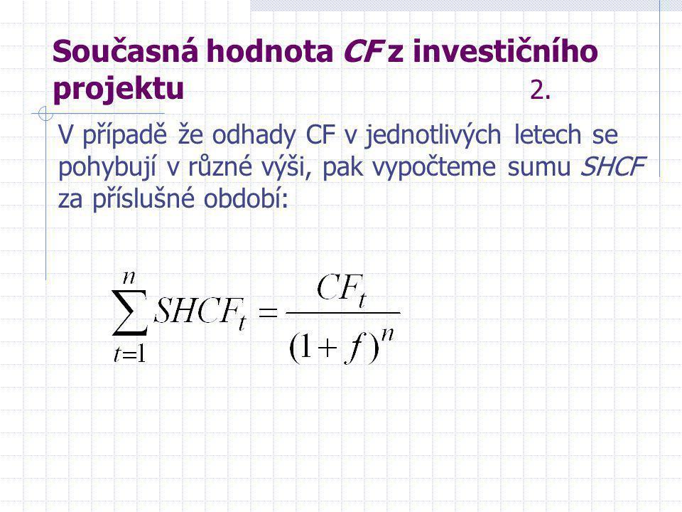 Současná hodnota CF z investičního projektu 2.