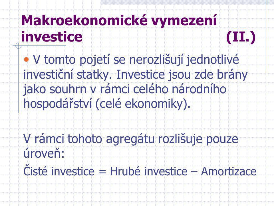 Význam investic v ekonomice Investice determinují budoucí vývoj celé národní ekonomiky (její budoucí úroveň).