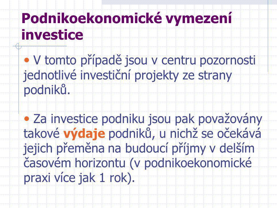 Podnikoekonomické vymezení investice • V tomto případě jsou v centru pozornosti jednotlivé investiční projekty ze strany podniků.