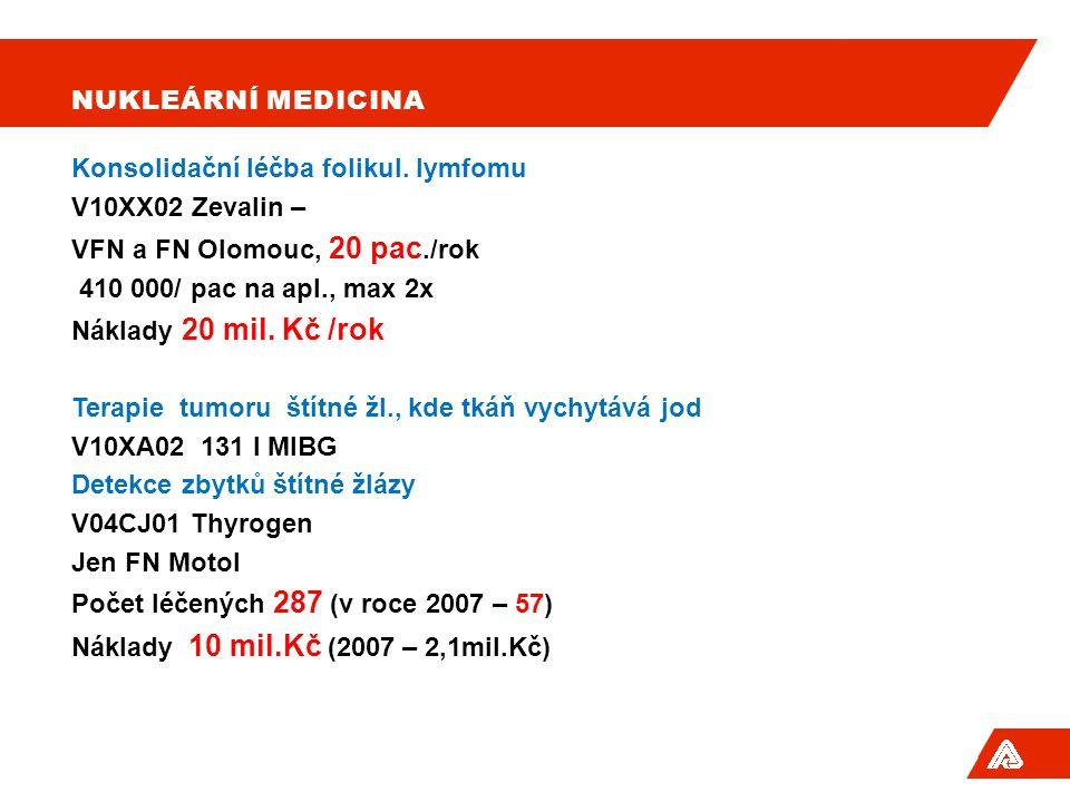 NUKLEÁRNÍ MEDICINA Konsolidační léčba folikul. lymfomu V10XX02 Zevalin – VFN a FN Olomouc, 20 pac./rok 410 000/ pac na apl., max 2x Náklady 20 mil. Kč