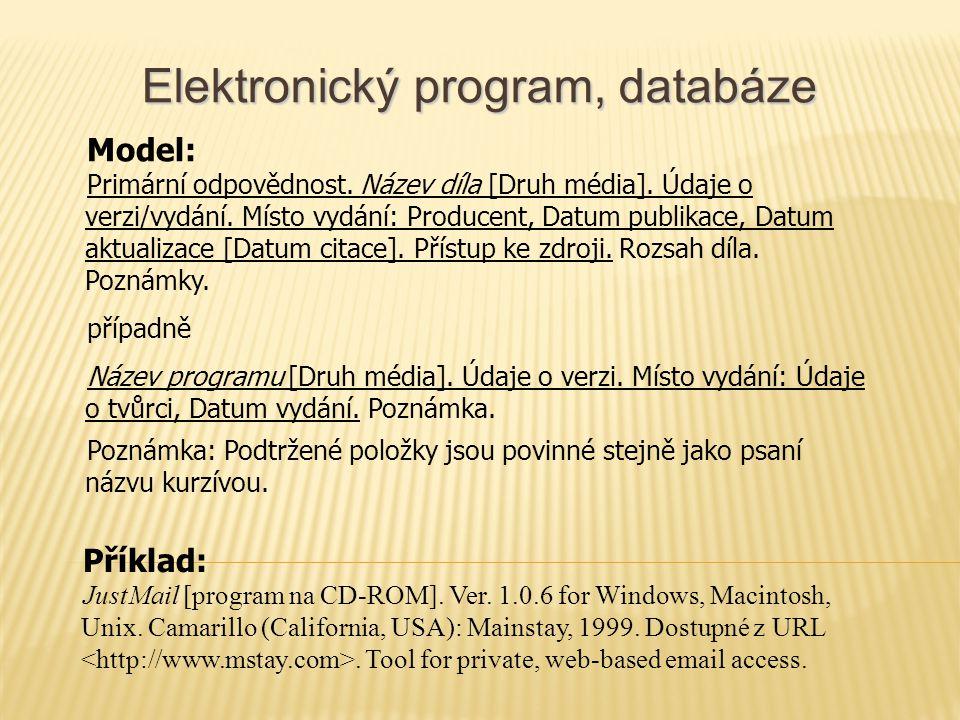 Elektronický program, databáze Model: Primární odpovědnost.