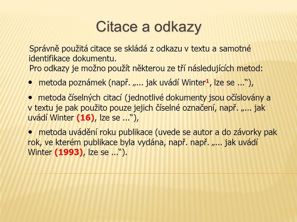 """Citace a odkazy • metoda poznámek (např. """"..."""
