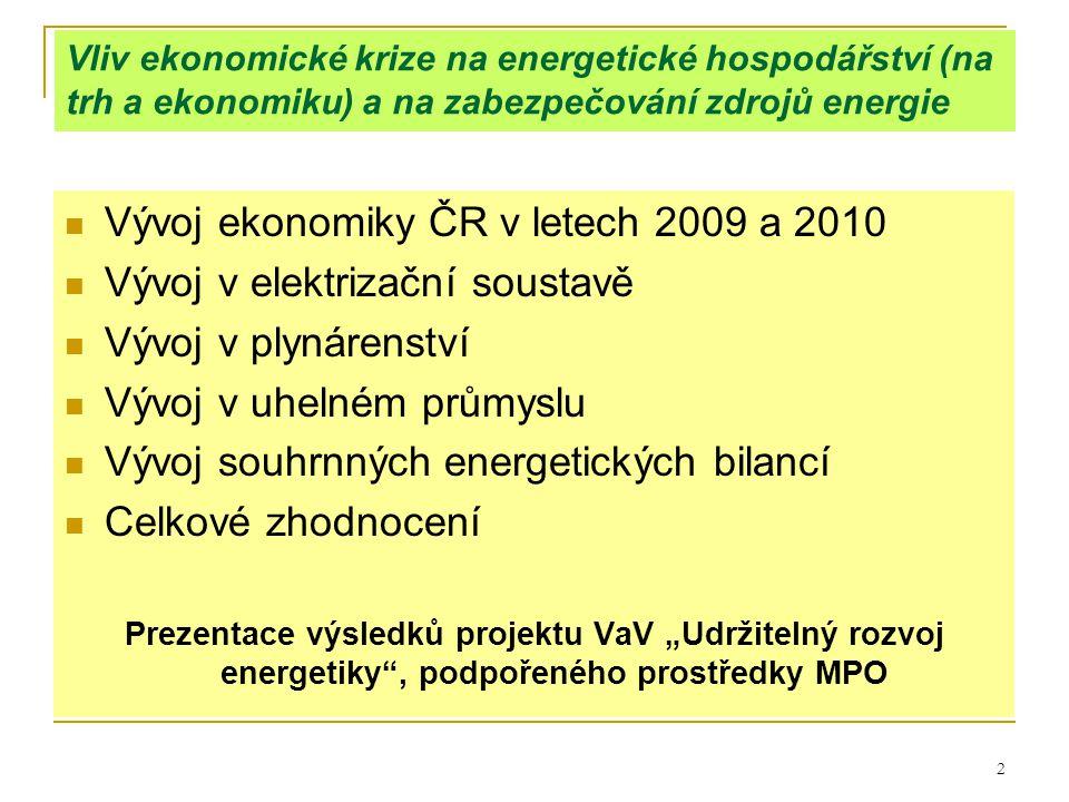 """2 Vliv ekonomické krize na energetické hospodářství (na trh a ekonomiku) a na zabezpečování zdrojů energie  Vývoj ekonomiky ČR v letech 2009 a 2010  Vývoj v elektrizační soustavě  Vývoj v plynárenství  Vývoj v uhelném průmyslu  Vývoj souhrnných energetických bilancí  Celkové zhodnocení Prezentace výsledků projektu VaV """"Udržitelný rozvoj energetiky , podpořeného prostředky MPO"""