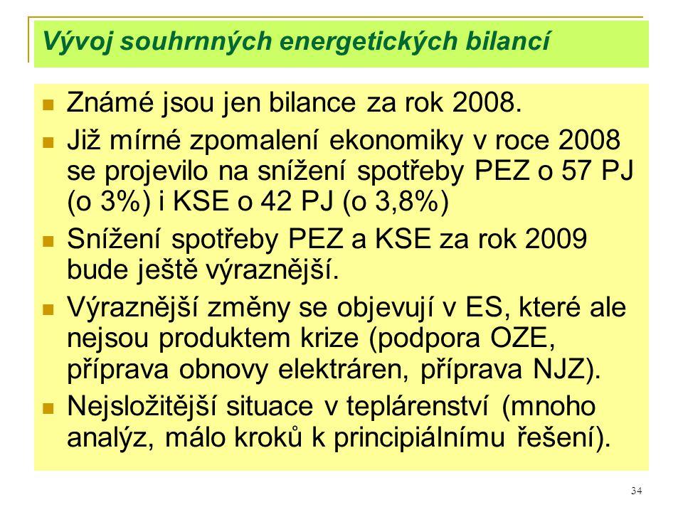 34 Vývoj souhrnných energetických bilancí  Známé jsou jen bilance za rok 2008.  Již mírné zpomalení ekonomiky v roce 2008 se projevilo na snížení sp