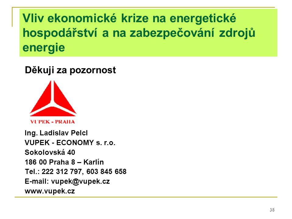 38 Vliv ekonomické krize na energetické hospodářství a na zabezpečování zdrojů energie Děkuji za pozornost Ing. Ladislav Pelcl VUPEK - ECONOMY s. r.o.