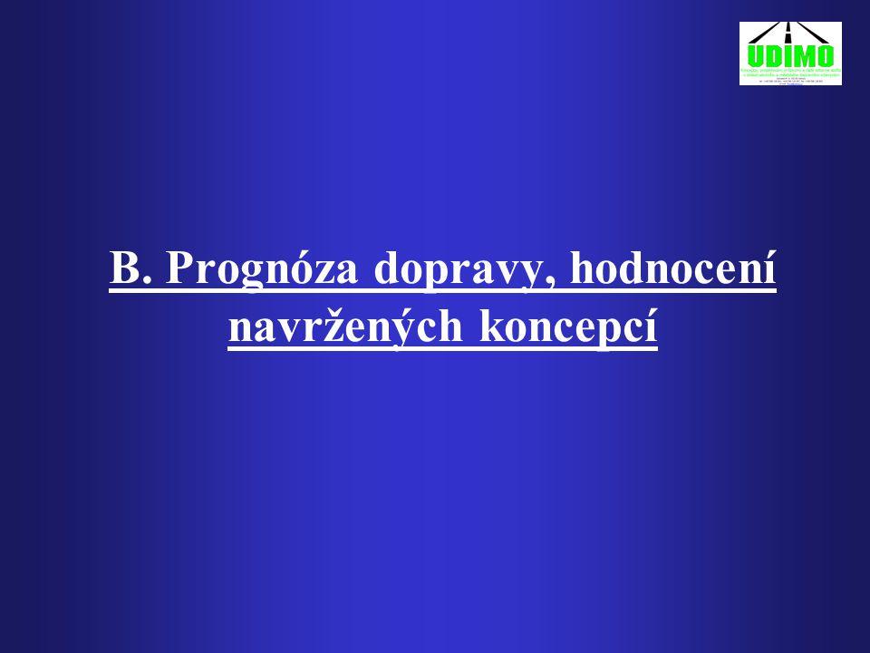 B. Prognóza dopravy, hodnocení navržených koncepcí