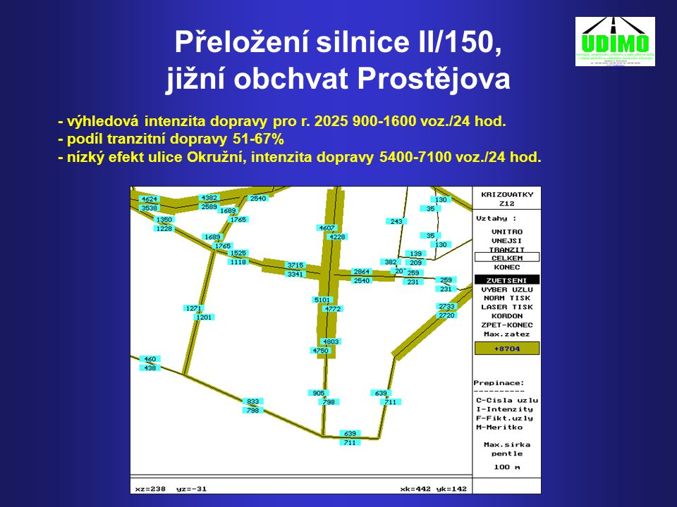 Přeložení silnice II/150, jižní obchvat Prostějova - výhledová intenzita dopravy pro r.