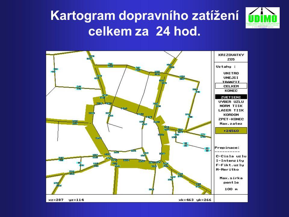 Kartogram dopravního zatížení celkem za 24 hod.