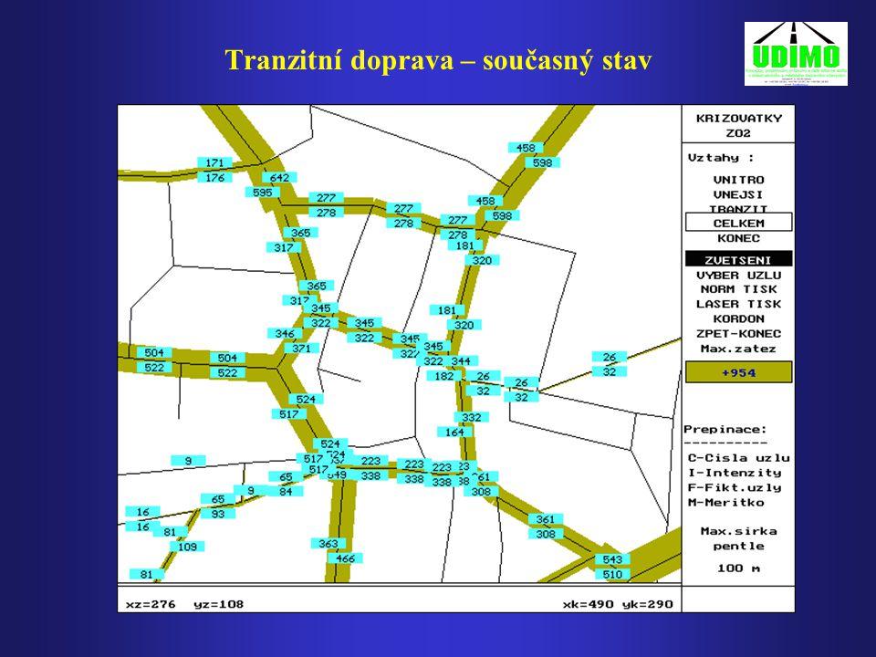 Svatoplukova – Vápenice - Olomoucká Stávající stav - špičková hodina Svatoplukova – Vápenice - Olomoucká Jednosměrný městský okruh – špičková hodina Srovnání dopravního zatížení křižovatky Srovnání dopravního zatížení křižovatky