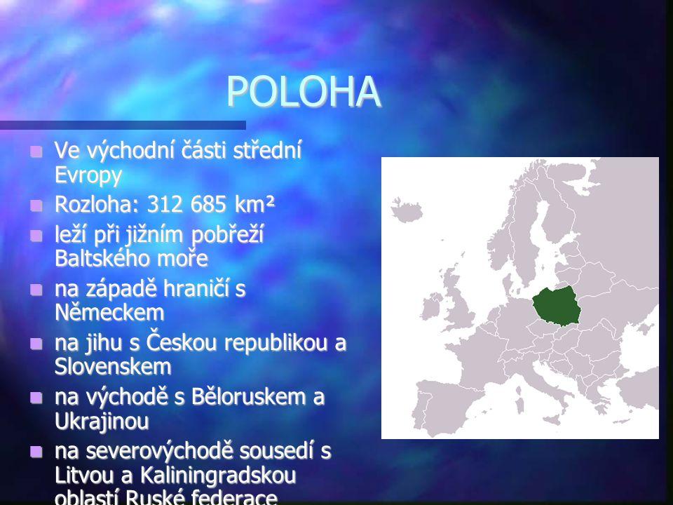 POLOHA  Ve východní části střední Evropy  Rozloha: 312 685 km²  leží při jižním pobřeží Baltského moře  na západě hraničí s Německem  na jihu s Č