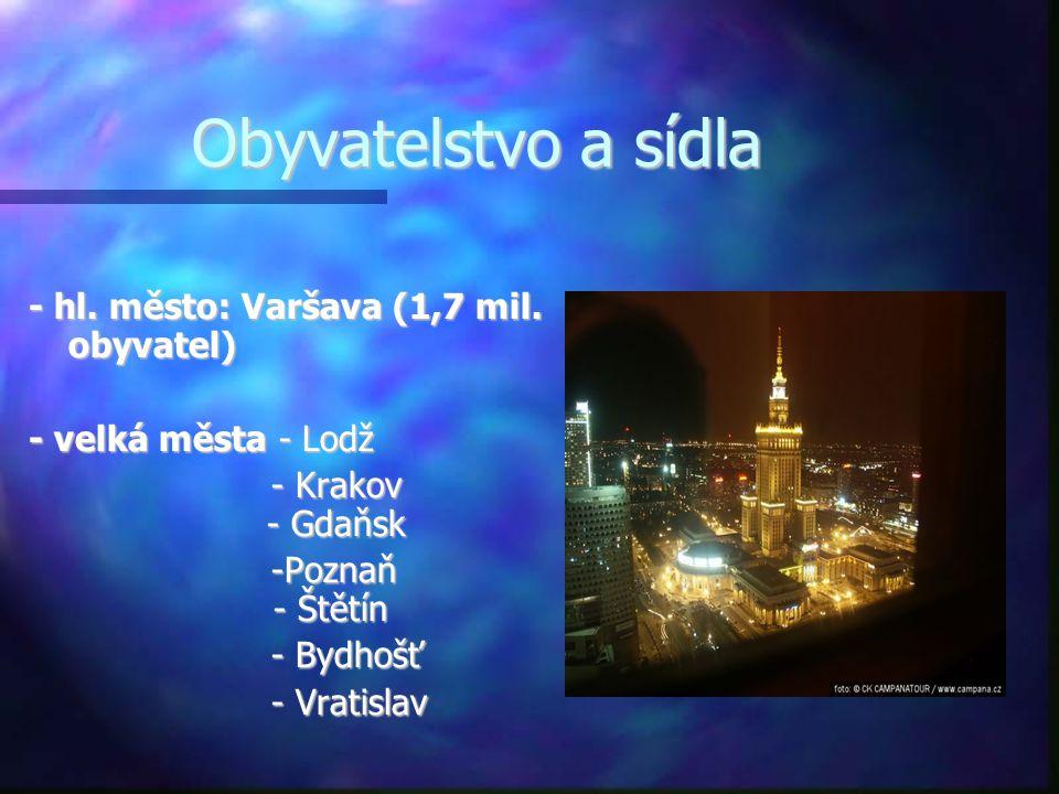 Obyvatelstvo a sídla - hl. město: Varšava (1,7 mil. obyvatel) - velká města - Lodž - Krakov - Gdaňsk - Krakov - Gdaňsk -Poznaň - Štětín -Poznaň - Štět