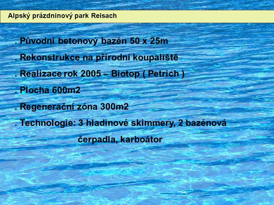 Alpský prázdninový park Reisach. Původní betonový bazén 50 x 25m.