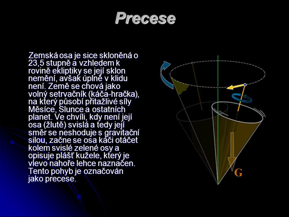 Precese Zemská osa je sice skloněná o 23,5 stupně a vzhledem k rovině ekliptiky se její sklon nemění, avšak úplně v klidu není. Země se chová jako vol