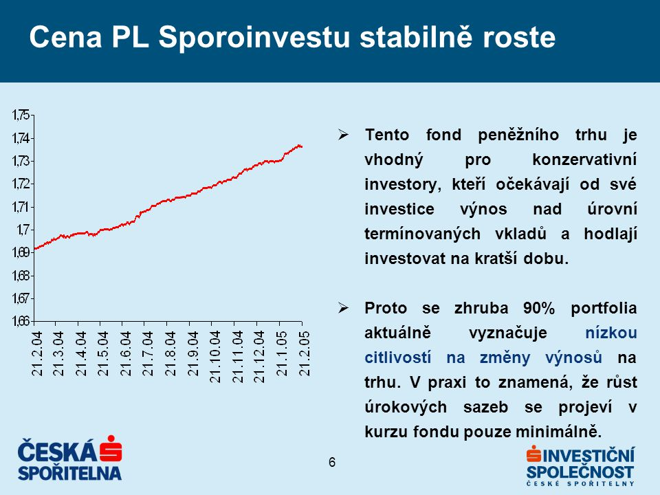 6 Cena PL Sporoinvestu stabilně roste  Tento fond peněžního trhu je vhodný pro konzervativní investory, kteří očekávají od své investice výnos nad úrovní termínovaných vkladů a hodlají investovat na kratší dobu.