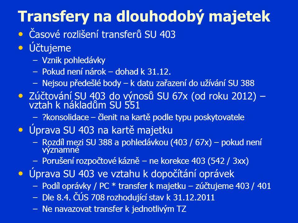Transfery na dlouhodobý majetek • • Časové rozlišení transferů SU 403 • • Účtujeme – –Vznik pohledávky – –Pokud není nárok – dohad k 31.12. – –Nejsou