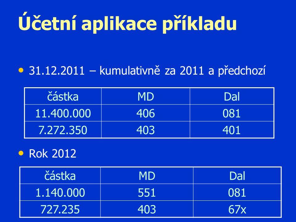 Účetní aplikace příkladu • • 31.12.2011 – kumulativně za 2011 a předchozí • • Rok 2012 částkaMDDal 11.400.000406081 7.272.350403401 částkaMDDal 1.140.