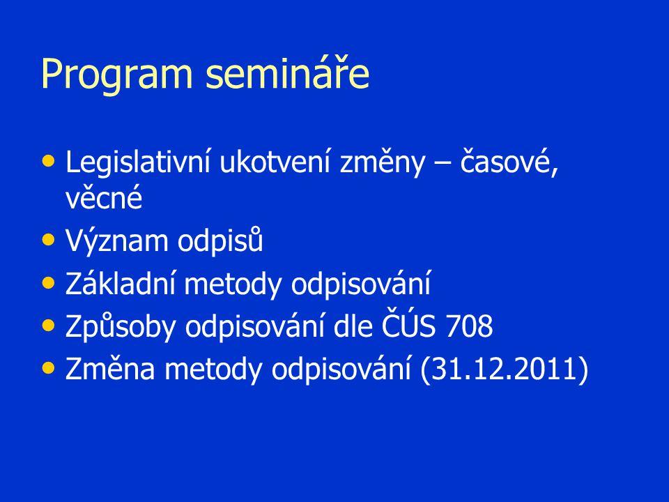 Program semináře • • Legislativní ukotvení změny – časové, věcné • • Význam odpisů • • Základní metody odpisování • • Způsoby odpisování dle ČÚS 708 •