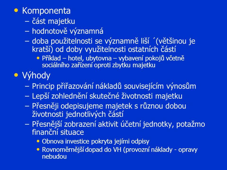 • • Komponenta – –část majetku – –hodnotově významná – –doba použitelnosti se významně liší ´(většinou je kratší) od doby využitelnosti ostatních část