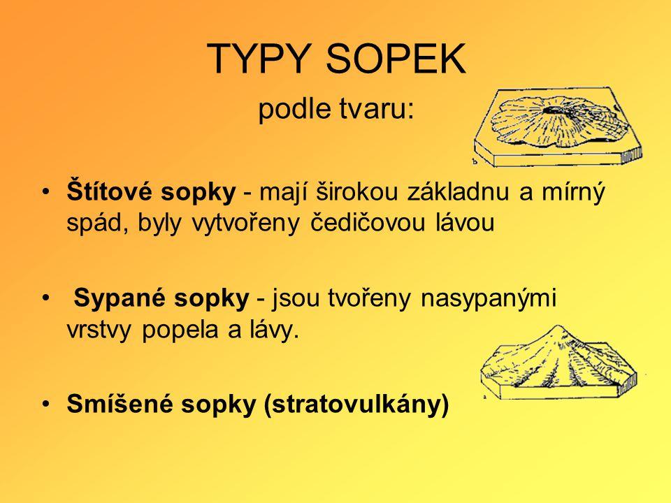 TYPY SOPEK podle tvaru: •Štítové sopky - mají širokou základnu a mírný spád, byly vytvořeny čedičovou lávou • Sypané sopky - jsou tvořeny nasypanými vrstvy popela a lávy.