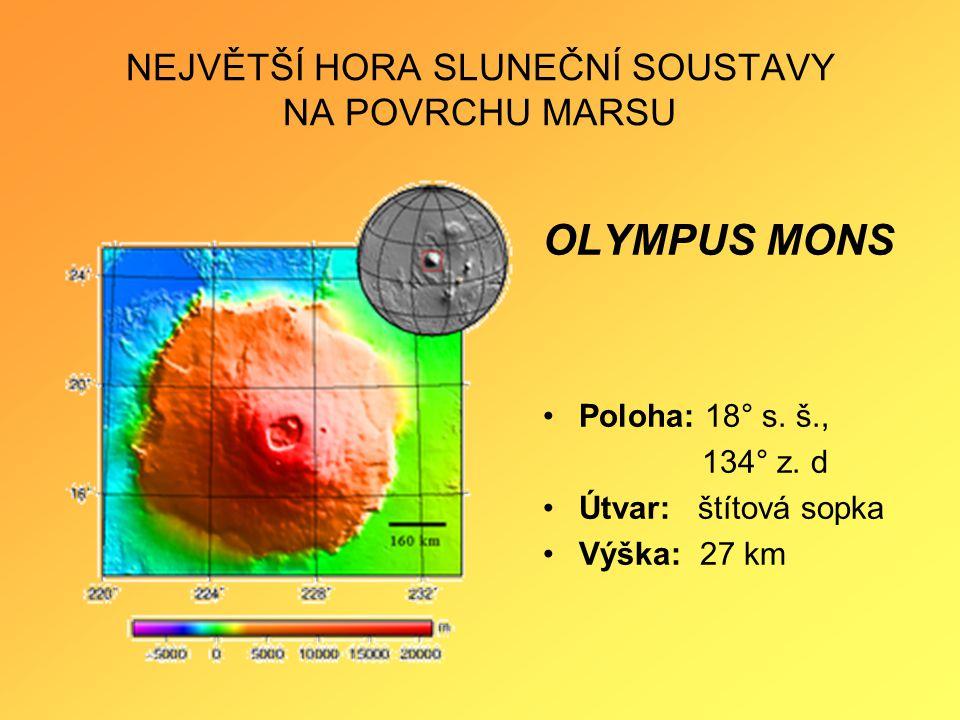 NEJVĚTŠÍ HORA SLUNEČNÍ SOUSTAVY NA POVRCHU MARSU OLYMPUS MONS •Poloha: 18° s.