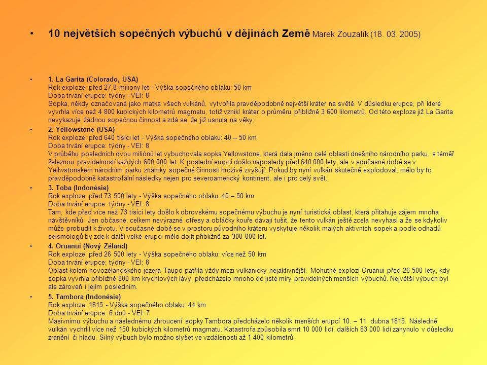•10 největších sopečných výbuchů v dějinách Země Marek Zouzalík (18.