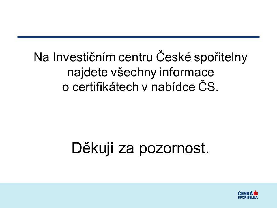 Na Investičním centru České spořitelny najdete všechny informace o certifikátech v nabídce ČS. Děkuji za pozornost.