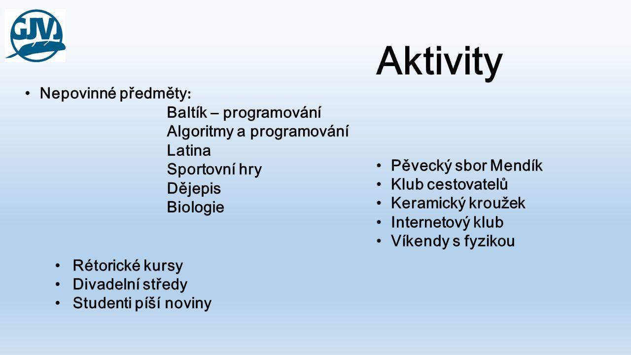 Aktivity •Nepovinné předměty : Baltík – programování Algoritmy a programování Latina Sportovní hry Dějepis Biologie •Pěvecký sbor Mendík •Klub cestova